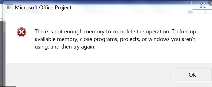 Not Enough Memory To Complete This Operation